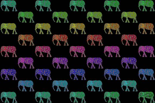 Flowering Elephants - Tapestry - Black background